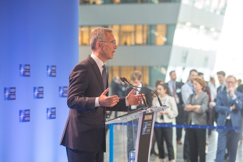 NATO Secretary General Jens Stoltenberg speaks to the press at the alliance headquarters in Brussels.
