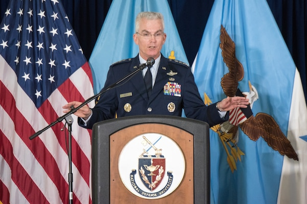 Air Force Gen. Paul J. Selva, vice chairman of the Joint Chiefs of Staff, speaks at the National Defense University Graduation at Fort Lesley J. McNair in Washington D.C., June 7, 2018. The NDU Class of 2018 consists of leaders from the U.S. military services, the Defense Department, other federal government agencies, as well as from the foreign militaries of 66 allied and partner nations. DoD Photo by Army Sgt. James K. McCann