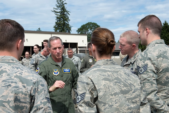 Gen David Goldfein, Chief of Staff of the Air Force, talks with members of the 62nd Aerial Port Squadron, June 5, 2018, at Joint Base Lewis-McChord, Wash. Goldfein and the Airmen had the opportunity to discuss how they support not only Airmen but Soldiers as well as part of the joint base. (U.S. Air Force photo by A1C Sara Hoerichs)