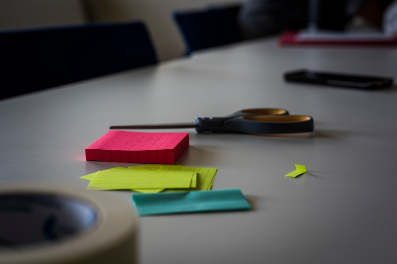 A variety of supplies utilized during the Continuous Process Improvement program sit on a desk at Misawa Air Base, Japan, May 22, 2018. Supplies provided at the program equipped Airmen to document concerns, make flash cards and jot down ideas. The CPI program gives personnel the tools to analyze processes within their respective units to ensure methods and procedures are optimized.