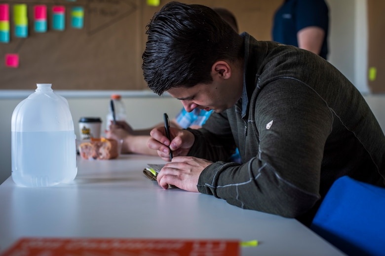 U.S. Air Force Senior Airman Daniel Ruzicka, a 35th Maintenance Squadron transient alert member, takes notes on how to effectively problem solve during the Continuous Process Improvement program at Misawa Air Base, Japan, May 22, 2018. The goal of CPI is to acknowledge shortcomings within squadrons and use an eight-step solution to resolve noted issues.