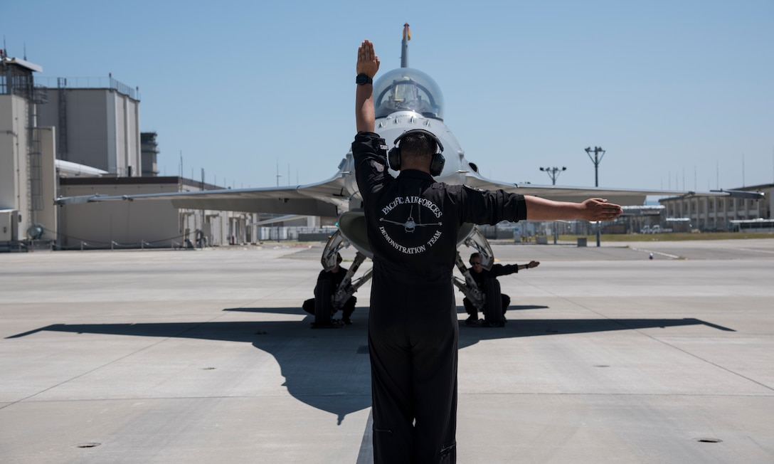 U.S. Pacific Air Forces F-16 Demonstration Team performs at Hofu-Kita Air Base