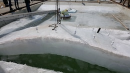 Cold Regions Lab tests survivability of ice stress on Arctic energy and communications pod