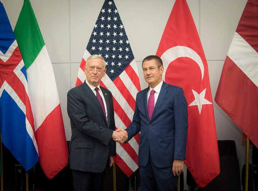 Defense Secretary James N. Mattis meets with Turkish Minister of Defense Nurettin Canikli at the NATO building in Brussels, Belgium on June 7, 2018. DoD photo by Air Force Tech. Sgt. Vernon Young Jr.