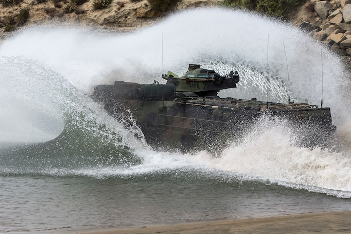 Marines with the Assault Amphibian Schools Battalion Training Command operate an AAV7 Amphibious Assault Vehicle during water operations on Marine Corps Base Camp Pendleton, Calif., June 6, 2018. The AAV was operated by instructors with AAS Bn. to teach the basic operations of the vehicle to students with the basic repair course.