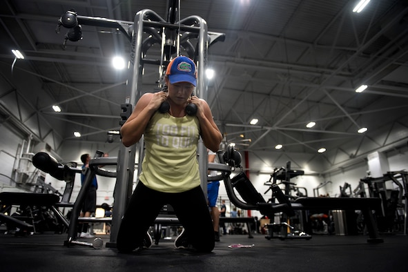 U.S. Air Force Airman 1st Class Haley Storicks, an administrative journeyman assigned to the 509th Contracting Squadron, works out at Whiteman Air Force Base, Missouri, June 1, 2018.