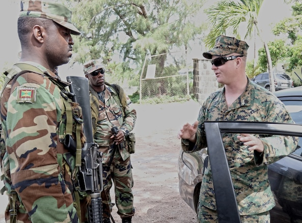Forces from Grenada train with U.S. Marines.