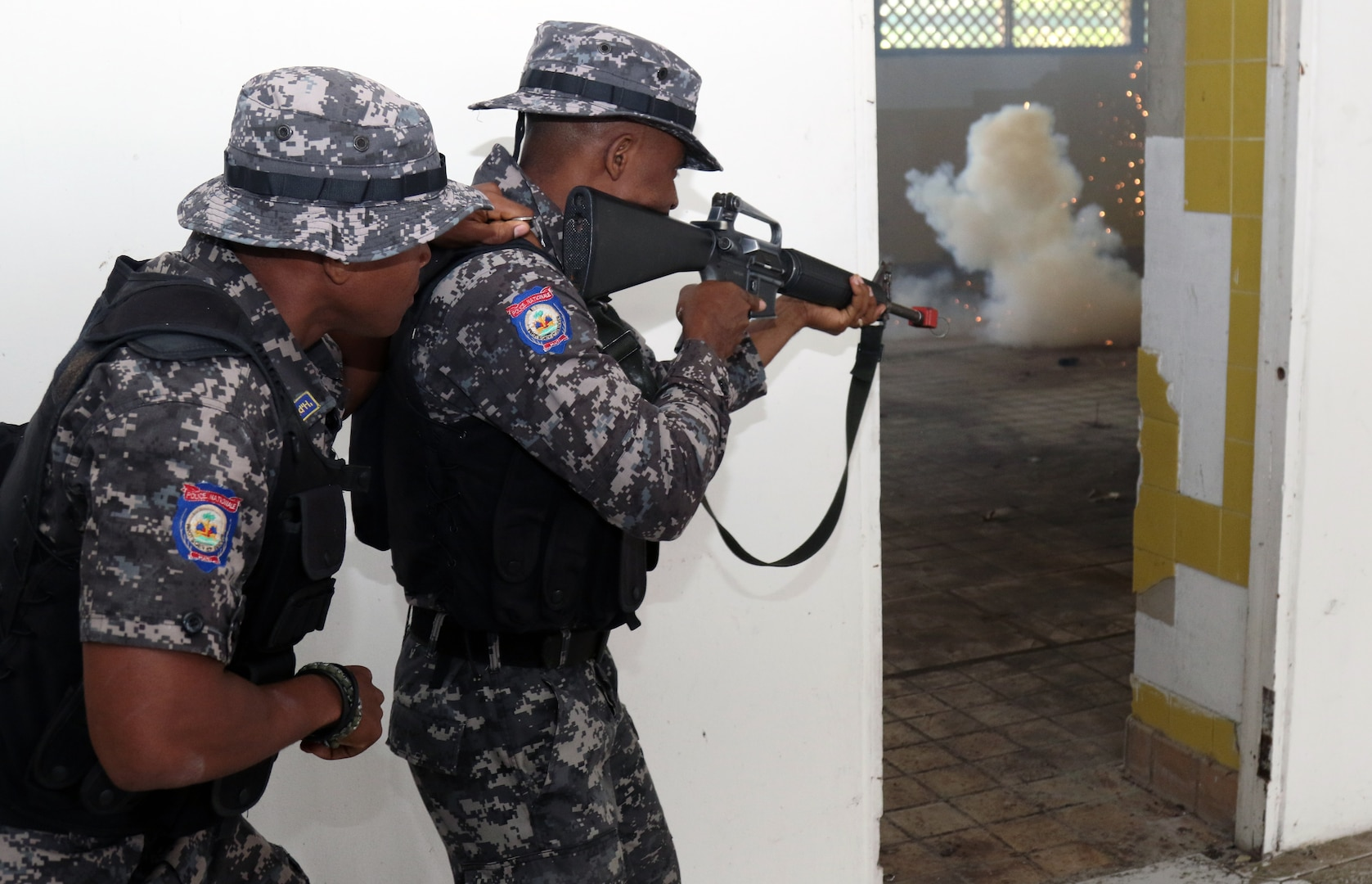 Haiti National Police train during Tradewinds exercise.