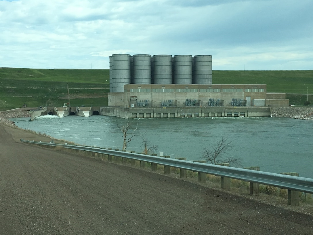The Garrison Power Plant and regulating tunnels with the 44,000 cfs combined releases