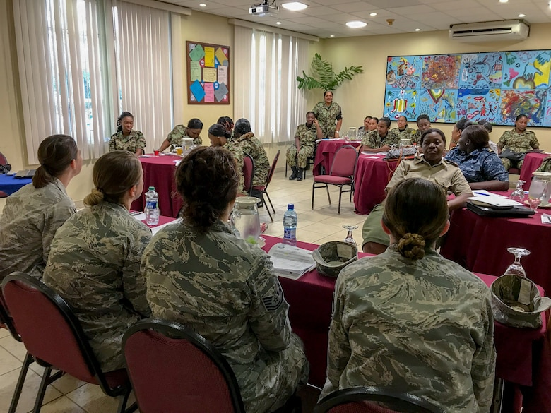 114th Fighter Wing Airmen answered questions and listened to women of the Suriname Defense Force during the National Guard State Partnership Program's Women in the Military Conference May 14-19, 2018.