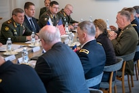 Marine Corps Gen. Joe Dunford, chairman of the Joint Chiefs of Staff, meets with Russian Army Gen. Valery Gerasimov, Chief of the General Staff of the Armed Forces of Russia, at Königstedt Manor in Helsinki, Finland, June 8, 2018.