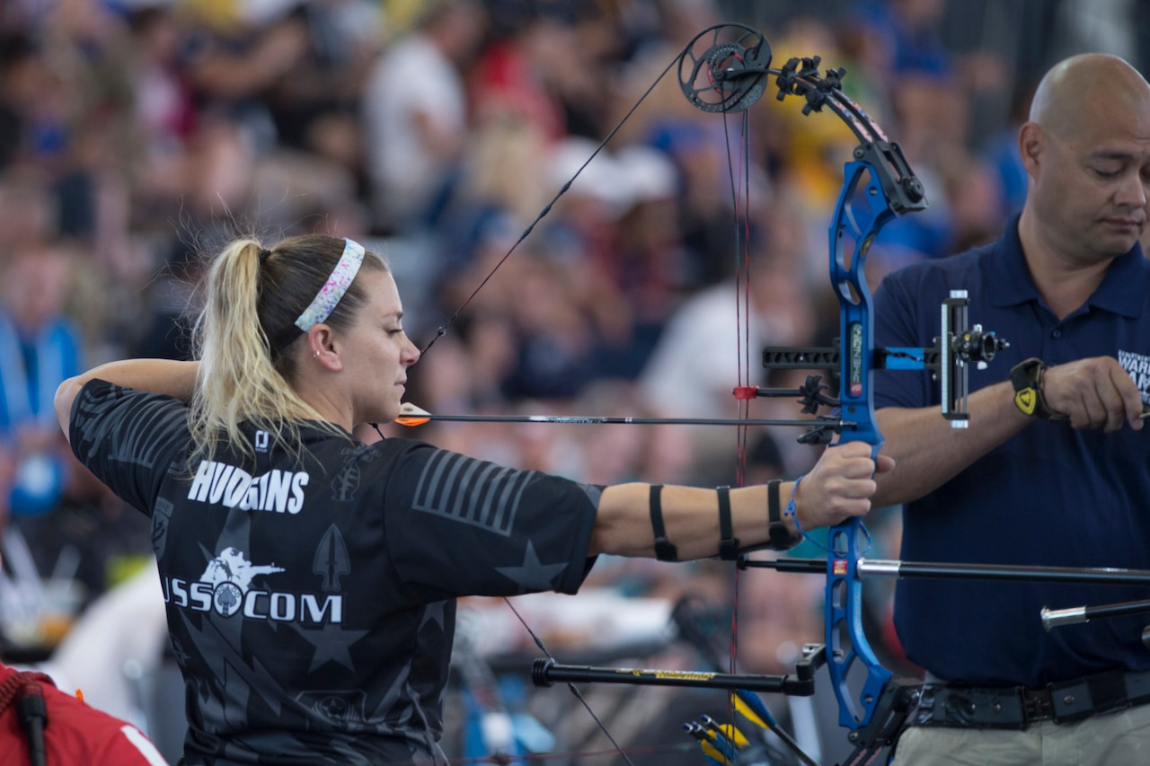 Former Marine Corps Reserve Gunnery Sgt. Tiffany Hudgins competes in archery, representing U.S. Special Operations Command, during the 2018 Department of Defense Warrior Games at the U.S. Air Force Academy in Colorado Springs, Colo.