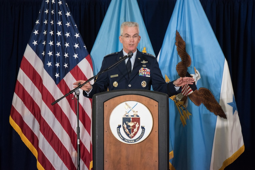 U.S. Air Force Gen. Paul J. Selva, Vice Chairman of the Joint Chiefs of Staff, speaks at the National Defense University (NDU) Graduation