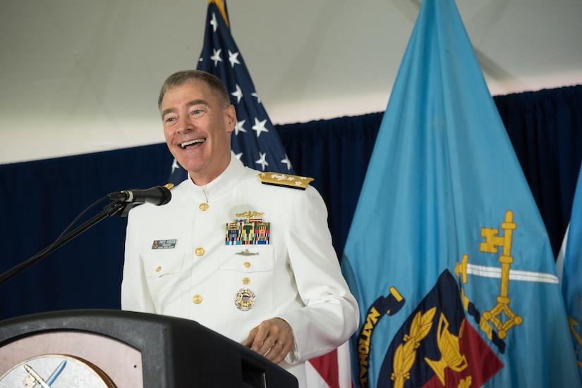 U.S. Navy Vice Adm. Fritz Roegge, President NDU, speaks at the NDU Graduation