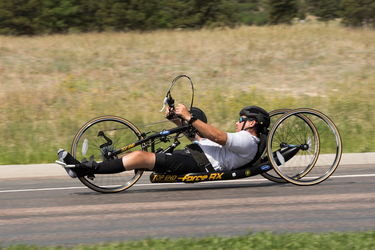 Army Master Sgt. George Vera of the U.S. Special Operations Command team competes in cycling during the 2018 Department of Defense Warrior Games at the U.S. Air Force Academy in Colorado Springs, Colo.