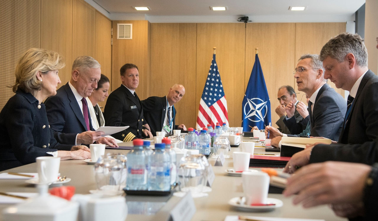 Defense Secretary James N. Mattis meets with NATO Secretary General Jens Stoltenberg at NATO headquarters in Brussels.