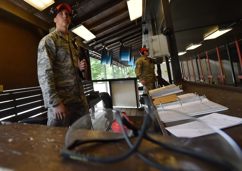 Senior Airman Dylan Ricketts, 628th Security Forces Squadron Combat Arms Training and Maintenance instructor, prepares to instruct an M-4 rifle qualifying course June 5, 2018, at Joint Base Charleston, S.C. CATM instructors at Joint Base Charleston support all military branches and are responsible for qualifying service members and civilians on various weapons.