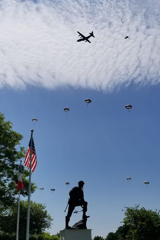 U.S. Army paratroopers joined paratroopers from several nations during a paradrop as part of the commemoration of the D-Day invasion of June 6, 1944, during World War II, in Normandy, France. Aircraft from the U.S. Air Force's 86th Airlift Wing and multiple other countries and units participated in the event. (U.S. Air National Guard photo by Lt. Col. Misty Hitchcock)