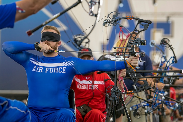 Team Air Force veteran Senior Airman Brett Campfield competes in the visually impaired category for archery during the 2018 DoD Warrior Games at the Air Force Academy in Colorado Springs, Colo., June 7, 2018. (DoD photo by EJ Hersom)