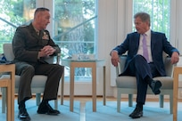 President of the Republic of Finland Sauli Niinistö hosts Marine Corps Gen. Joe Dunford, chairman of the Joint Chiefs of Staff, for an office call at the Mäntyniemi in Helsinki, Finland, June 8, 2018.