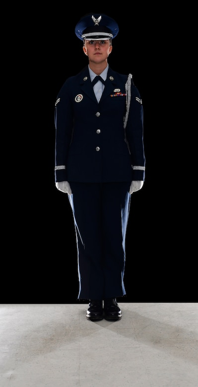 Airman 1st Class Julia C. Schultz, assigned to the 157th Force Support Squadron, poses for a portait on June 7, 2018 at Pease Air National Guard Base, N.H. Schultz has served as a member of the Pease Base Honor Guard for more than a year. (N.H. Air National Guard photo illustration by Staff Sgt. Kayla White)