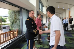 U.S. Army Corps of Engineers, Savannah District team members welcome new Commander Col. Daniel Hibner and his family to the district following a Change of Command Ceremony, June 8.
