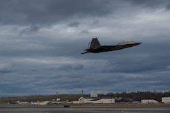 An F-22 Raptor takes flight at Joint Base Elmendorf-Richardson, Alaska, May 10, 2018. The F-22, a critical component of the Global Strike Task Force, is designed to project air dominance rapidly and at great distances and defeat threats to the U.S. and its allies. The F-22 cannot be matched by any known or projected fighter aircraft.