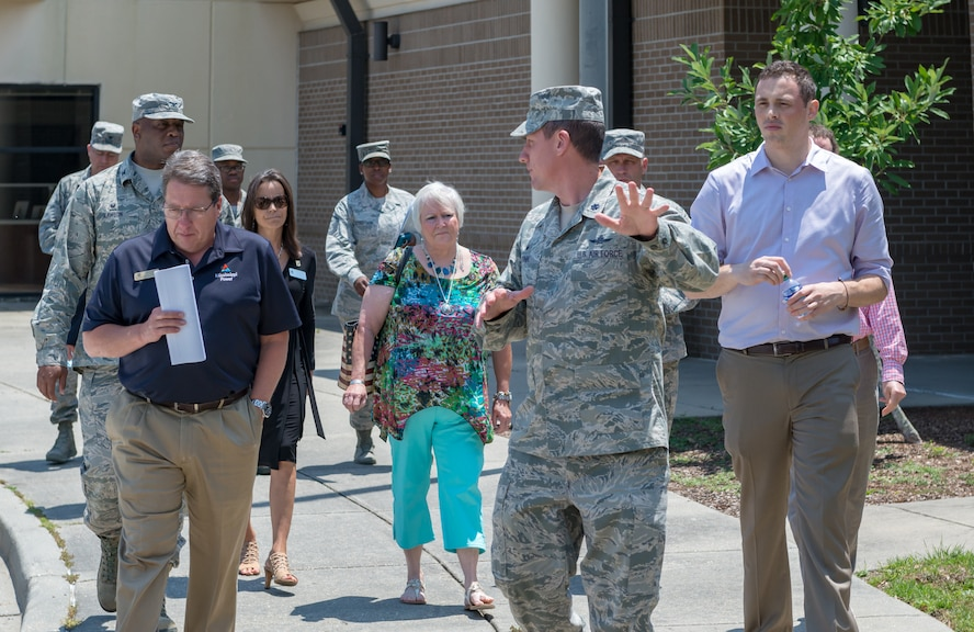 U.S. Air Force Lt. Col. Michael Zink, 338th Training Squadron commander, provides a tour of the 338th TRS to local community leaders during the 81st Training Group Honorary Commanders' tour near Bryan Hall on Keesler Air Force Base, Mississippi, June 7, 2018. The purpose of the tour is to better educate the honorary commanders on the 81st TRG mission and capabilities. (U.S. Air Force photo by Andre Askew)