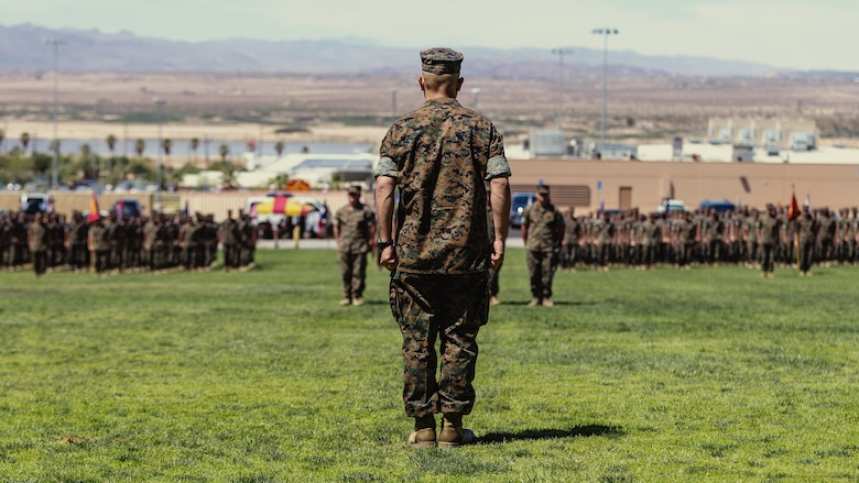Lt. Col. Robert M. Barnhart Jr., on-coming commanding officer, 1st Battalion, 7th Marine Regiment, stands before his battalion for the first time during the unit's change of command ceremony aboard the Marine Corps Air Ground Combat Center, Twentynine Palms, Calif., June 4, 2018. The change of command ceremony ensures that the unit and its Marines are never without official leadership, and also signifies an allegiance of Marines to their unit's commander. (U.S. Marine Corps photo by Lance Cpl. Rachel K. Porter)