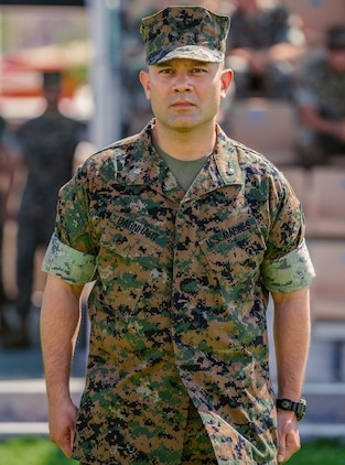 Lt. Col. Robert M. Barnhart Jr., on-coming commanding officer, 1st Battalion, 7th Marine Regiment, prepares to accept command over the unit during a change of command ceremony aboard the Marine Corps Air Ground Combat Center, Twentynine Palms, Calif., June 4, 2018. The change of command ceremony ensures that the unit and its Marines are never without official leadership, and also signifies an allegiance of Marines to their unit's commander. (U.S. Marine Corps photo by Lance Cpl. Rachel K. Porter)
