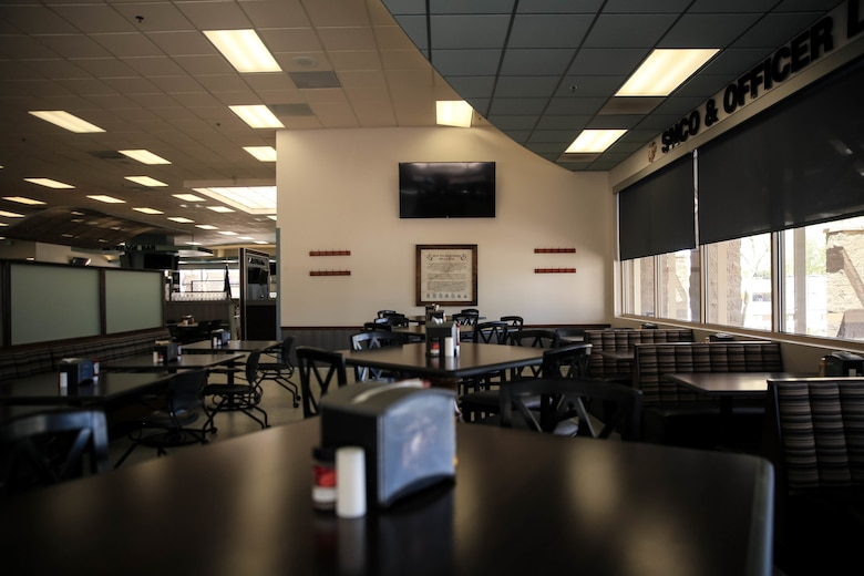 Phelps Mess Hall stands newly-furnished prior to its grand re-opening aboard the Marine Corps Air Ground Combat Center, Twentynine Palms, Calif., June 4, 2018.  Phelps Hall has been closed since November 11, 2017, due to renovations to improve the efficiency of the facility. (U.S. Marine Corps photo by Lance Cpl. Margaret Gale)