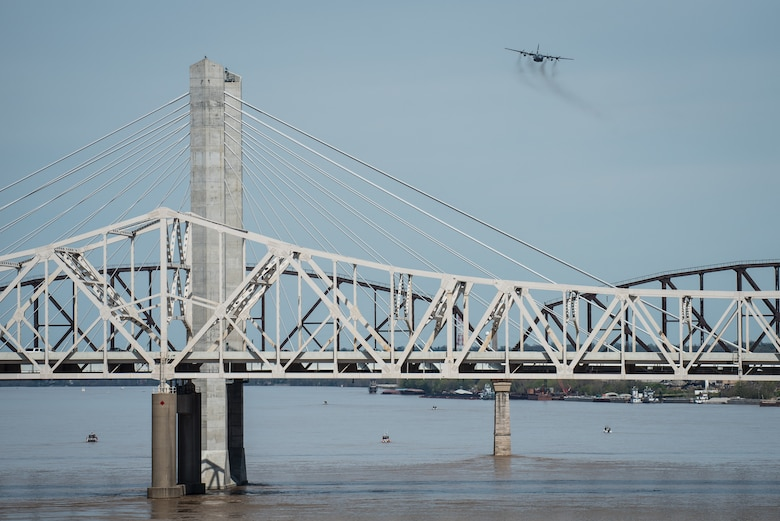 A Kentucky Air National Guard C-130 Hercules aircraft flies an aerial demonstration over the Ohio River April 21, 2018, during the Thunder Over Louisville air show in Louisville, Ky. The Kentucky Air Guard once again served as the base of operations for military aircraft participating in the show, providing essential maintenance and logistical support. (U.S. Air National Guard photo by Lt. Col. Dale Greer)