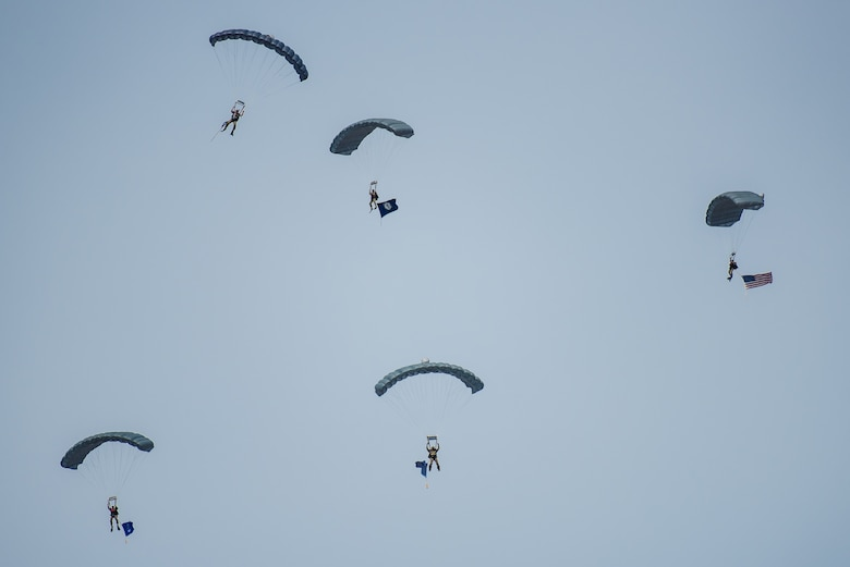 Special operators from the Kentucky Air National Guard's 123rd Special Tactics Squadron parachute into the Ohio River from a C-130 aircraft during the Thunder Over Louisville air show in Louisville, Ky., April 21, 2018. The squadron is comprised of combat controllers, pararescuemen, special operations weathermen and special tactics officers. (U.S. Air National Guard photo by Lt. Col. Dale Greer)