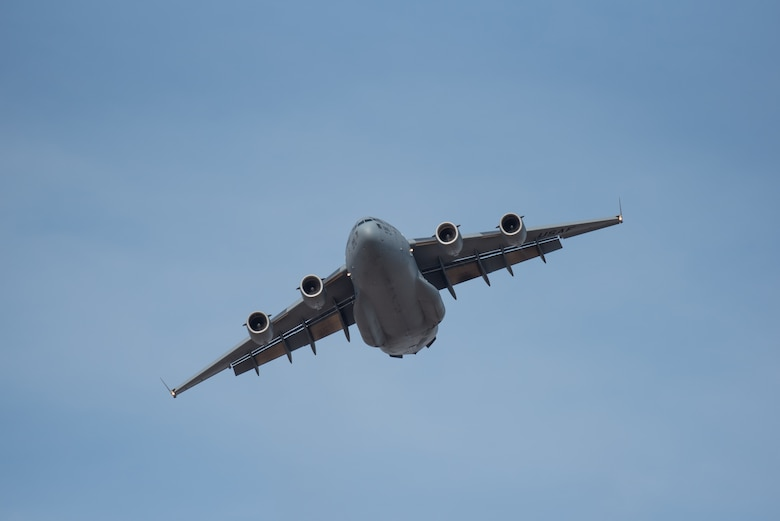 A U.S. Air Force C-17 Globemaster III transport aircraft flies an aerial demonstration over the Ohio River April 21, 2018, during the Thunder Over Louisville air show in Louisville, Ky. The Kentucky Air National Guard once again served as the base of operations for military aircraft participating in the show, providing essential maintenance and logistical support. (U.S. Air National Guard photo by Lt. Col. Dale Greer)