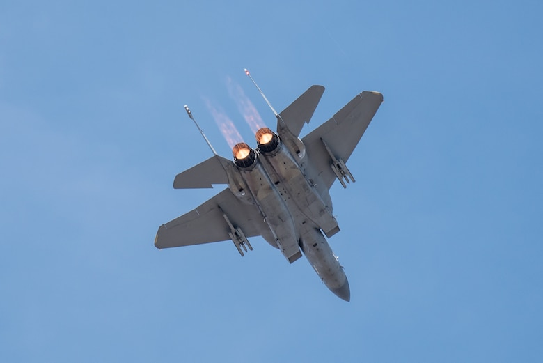 An F-15 Eagle from the 104th Fighter Wing, Massachusetts Air National Guard, performs an aerial demonstration April 21, 2018, during the Thunder Over Louisville air show in Louisville, Ky. The Kentucky Air National Guard once again served as the base of operations for military aircraft participating in the show, providing essential maintenance and logistical support. (U.S. Air National Guard photo by Lt. Col. Dale Greer)