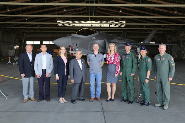 Margot Carrington, Minister-Counselor for Public Affairs, U.S. Embassy Tokyo, and Misawa City, 35th Fighter Wing and Japan Air-Self Defense Force leadership gather for a photo in front of an F-35A Lightning II during American Day at Misawa Air Base, Japan, June 3, 2018.