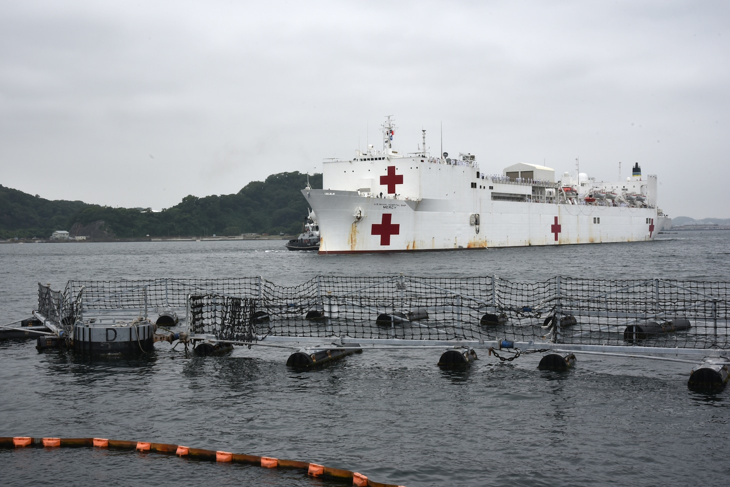 YOKOSUKA, Japan (June 10, 2018)  -- USNS Mercy (T-AH 19) arrives in Yokosuka, Japan as part of Goodwill port visit June 10. USNS Mercy is making port visits to Yokosuka and Tokyo to promote relationships between U.S. Navy Sailors and Japanese citizens through cultural exchange and bilateral training.
