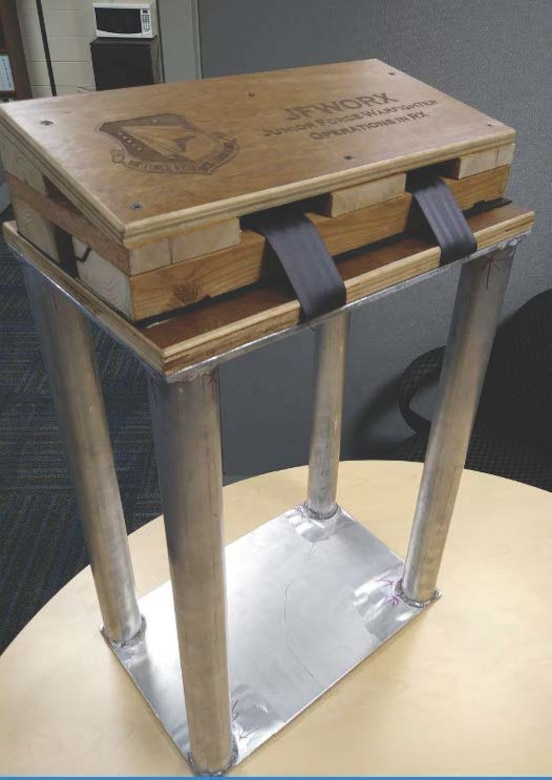 The Junior Force Warfighters Operations in the Air Force Research Laboratory Materials and Manufacturing Directorate hope to patent the new and improved milk stool for the C-130 aircraft.