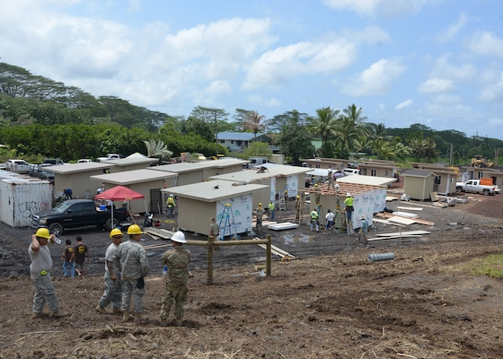 Engineers from the 230th Vertical Engineer Company, Hawaii National Guard, construct 20 micro shelters in Pahoa, Hawaii, June 9, 2018. The project is  a community effort led by Hope Services Hawaii, a faith-based non-profit organization.