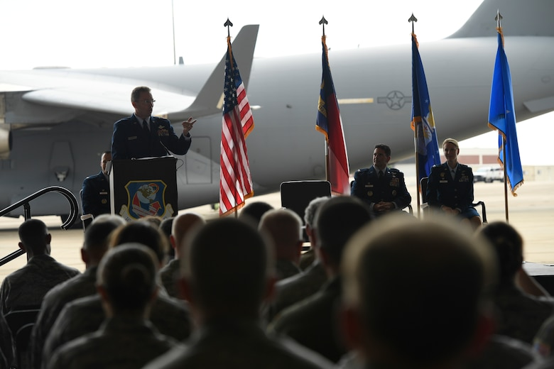 U.S. Air Force Brig. Gen. Thomas Kennett, Assistant Adjutant General for Air, North Carolina National Guard (NCANG), addresses members of the 145th Airlift Wing during a Change of Command Ceremony held at the NCANG Base, Charlotte Douglas International Airport, June 9, 2018. Col. Micheal Gerock will relinquish command to Col. Bryony Terrell who will be the the first female commander for the 145th Airlift Wing.