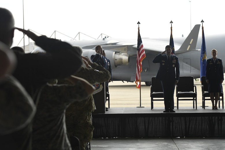 U.S. Air Force Col. Michael Gerock, commander of the 145th Airlift Wing (AW), receives a final salute from members of the unit during a Change of Command Ceremony held at the North Carolina Air National Guard Base, Charlotte Douglas International Airport, June 9, 2018. Gerock will will relinquish command to Col. Bryony Terrell who is the the first female commander for the 145th AW.