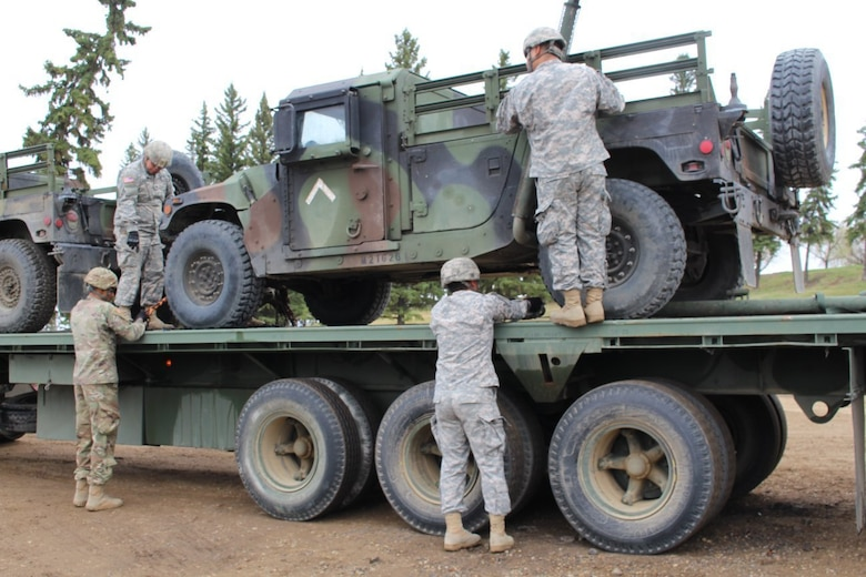 250th transportation Soldiers haul equipment from California to Canada