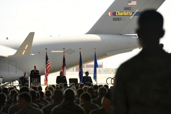 U.S. Air Force Col. Bryony Terrell, Commander of the 145th Airlift Wing (AW), addresses members of the unit during a Change of Command Ceremony held at the North Carolina Air National Guard (NCANG) Base, Charlotte Douglas International Airport, June 9, 2018. During the address, Terrell discussed her eagerness to start working with Airmen of the NCANG and to continue the units transition to the C-17 Globemaster III.