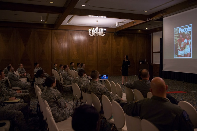 Retired U.S. Air Force Lt. Col. Jannell MacAulay, leadership and performance specialist consultant, speaks to Airmen at Ramstein Air Base, Germany, June 4, 2018. MacAulay spoke on the importance of mental exercises to improve decision-making capability, stress management, and overall performance in high-stress environments. (U.S. Air Force photo by Senior Airman Devin M. Rumbaugh)