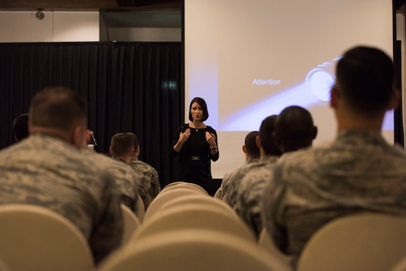 Retired U.S. Air Force Lt. Col. Jannell MacAulay, leadership and performance specialist consultant, speaks to Airmen at Ramstein Air Base, Germany, June 4, 2018. MacAulay is leading the charge to have mindfulness training implemented into U.S. Air Force policy, in order to improve performance of service members in high stress situations. (U.S. Air Force photo by Senior Airman Devin M. Rumbaugh)