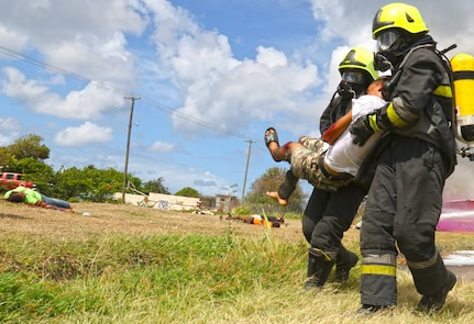 First responders conduct a simulated mass casualty drill.