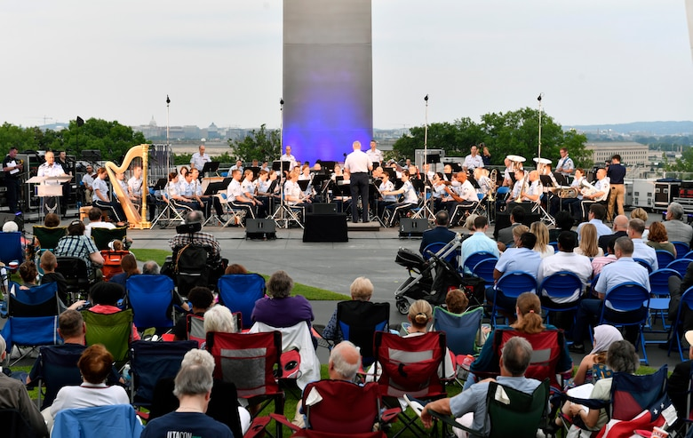 Members of the Air Force Band perform during the 2018 Heritage to Horizons summer concert in Arlington, Va., June 8, 2018.  (U.S. Air Force photo by Wayne A. Clark)