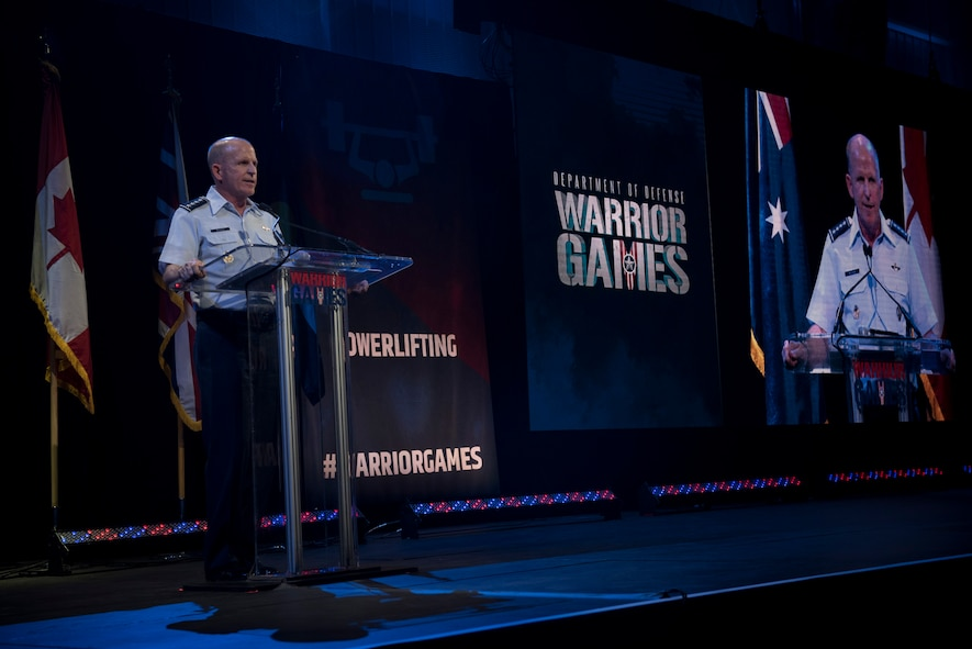 Air Force Vice Chief of Staff Gen. Stephen W. Wilson provides remarks at the closing ceremony of the Department of Defense Warrior Games in Colorado Springs, Colo., June 9, 2018. Wounded, ill and injured service members and veterans from the U.S. Air Force, Army, Marine Corps, Navy, and Special Operations Command, as well as athletes from the U.K. Armed Forces, Australian Defence Force and Canadian Armed Forces, competed in one or more of 11 different events held throughout the Games. (U.S. Air Force photo by Senior Airman Dennis Hoffman)