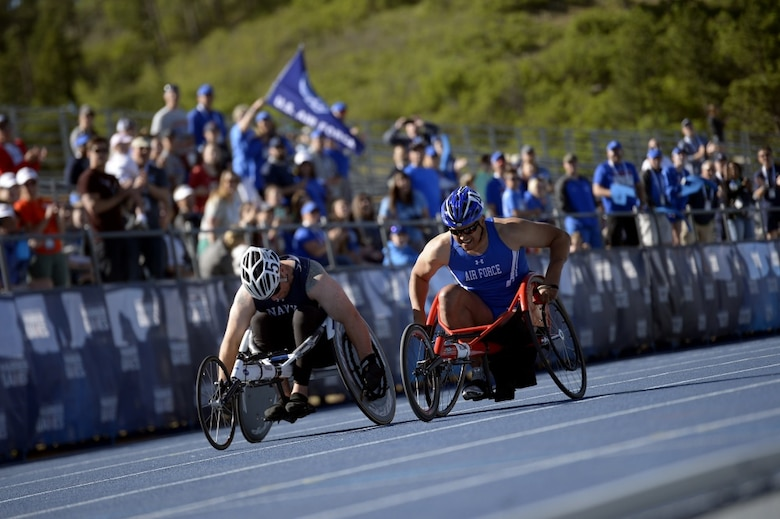 Team Air Force athlete Master Sgt. Brian Williams competes in the track and field portion of Department of Defense Warrior Games at the U.S. Air Force Academy, Colorado Springs, Colo., June 2, 2018. While the Games were primarily focused on the athletes, and their incredible experiences and accomplishments, they also acknowledgde athletes' family members and/or close friends who have made their own sacrifices to help warrior wounded athletes with their recovery efforts and athletic achievements. (U.S. Air Force photo by Tech Sgt. Anthony Nelson Jr.)