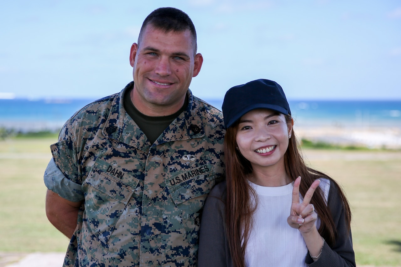 Marine Corps Gunnery Sgt. Scott Michael Dahn and Ching-Yi Sze pose for a photo in Okinawa, Japan, May 24, 2018.  Marine Corps photo by Cpl. Andrew Neumann